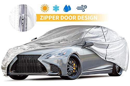 - Car Covers Outdoor Silvery 5 Layers Auto Covers with Driver Door Zipper UV Protection Waterproof Windproof Dust-Proof Scratch Resistant Outdoor/Indoor Universal Car Covers for Sedan 200