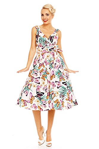 FTE Papillon Glam Rockabilly Moutarde 1950 rtro imprim Vintage Robe Looking vas annes 0xzp11q