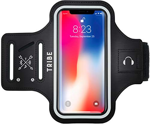 TRIBE Water Resistant Cell Phone Armband Case for iPhone X, Xs, 8, 7, 6, 6S Samsung Galaxy S9, S8, S7, S6, A8 with Adjustable Elastic Band & Key Holder for Running, Walking, Hiking Black Adjustable Sports Armband