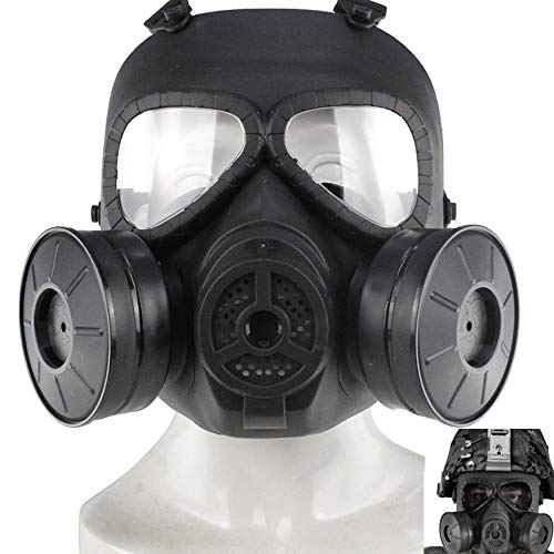 (ActionUnion Airsoft Mask Tactical Full Face Mask Military Outdoor Sport CS Protective Paintball Eye Protection Gas Mask Adjustable Dual Filter Fans Skull Zombie Soldiers Cosplay Costume Movie)