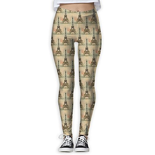 SNM HILL France Eiffel Tower Women's Printed Yoga Leggings Sport Pants Stretchy Tights Elastic