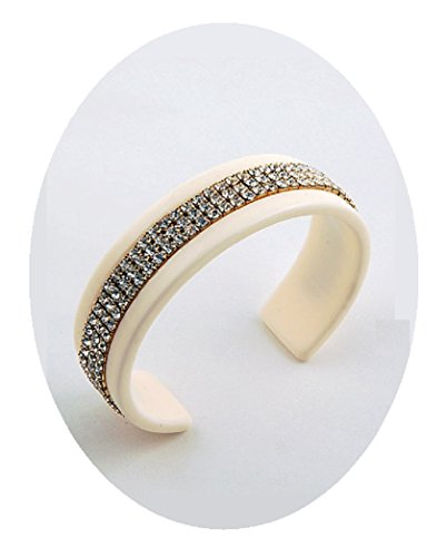 Ivory Lucite Cuff Bracelet Lightweight Design (#41) (3 Lines) (Cuff Lucite Bracelet)