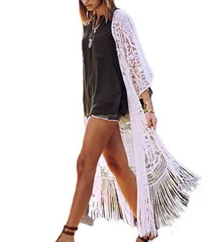 Bsubseach Women's Sexy White 3/4 Sleeve Lace Tassel Fringe Kimono Cardigan Long Swimsuit Bikini Cover Up (White Caftan)