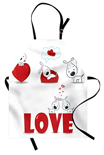 Ambesonne Valentines Day Apron, Puppy Love with Hearts and Dogs His and Hers Heart Balloon Romantic Print, Unisex Kitchen Bib Apron with Adjustable Neck for Cooking Baking Gardening, Red (Puppy Aprons)