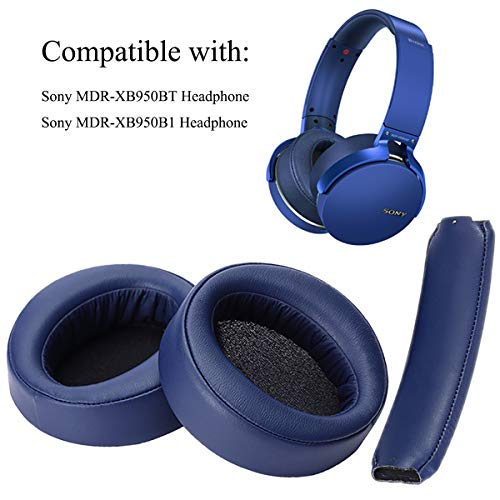 Krone Kalpasmos Replacement Ear Cushions Kit for Sony MDR-X950BT/B1 Headphones, Including Ear Pads and Headband Cushion, Soft Protein Leather Memory Foam Over-Ear Ear Covers Sony Repair Parts – Blue