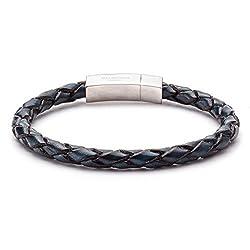 Tateossian Blue Italian Leather Bracelet - Large 19cm Length