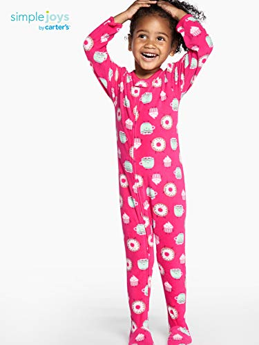 Simple Joys by Carter's 3-Pack Loose Fit Flame Resistant Fleece Footed Pajamas Bimba 0-24, Pacco da 3 4