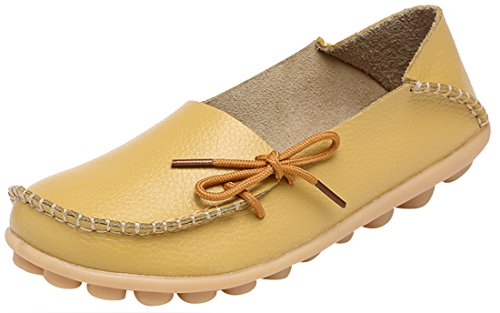 Serene Womens Yellow Leather Cowhide Casual Lace up Flat Driving Shoes Boat Slip-On Loafers - Size ()