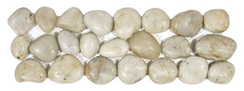 Polished White Pebble Tile Border 1 (Polished Pebble Tile)