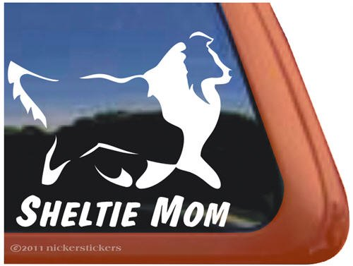 (Sheltie Mom Vinyl Window Decal Shetland Sheepdog Dog Sticker)