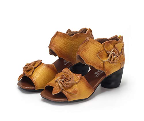 Genuine Leather Women Sandals Handmade Flower Platform Wedges Slingback Cowhide High Heel Shoes Yellow ()