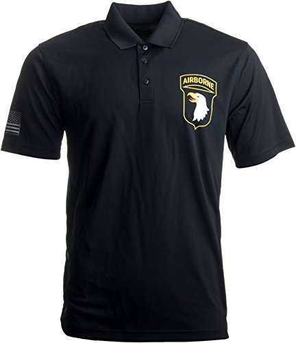 Ann Arbor T-shirt Co. 101st Airborne Division Polo w/Sleeve Flag | U.S. Army Veteran Collared Shirt-(Polo,2XL) - 101st Airborne Shirts