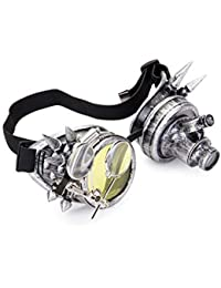 FOCUSSEXY Vintage Glasses Rave Crystal Prism Personality Steampunk Goggle Silver