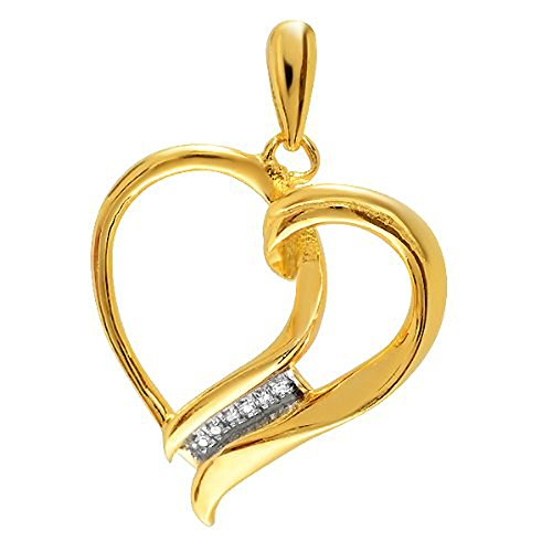 0.08 Carat (ctw) 18K Yellow Gold Plated Sterling Silver Diamond Micro Pave Setting Women's Heart Pendant (Heart 0.08 Tw Ct)