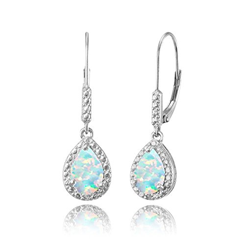 Sterling Silver Genuine, Created or Simulated Gemstone Teardrop Dangle Leverback Earrings