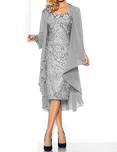 Women's Sexy Lace Mother of The Bride Evening Dress with Jacket Silver US18W