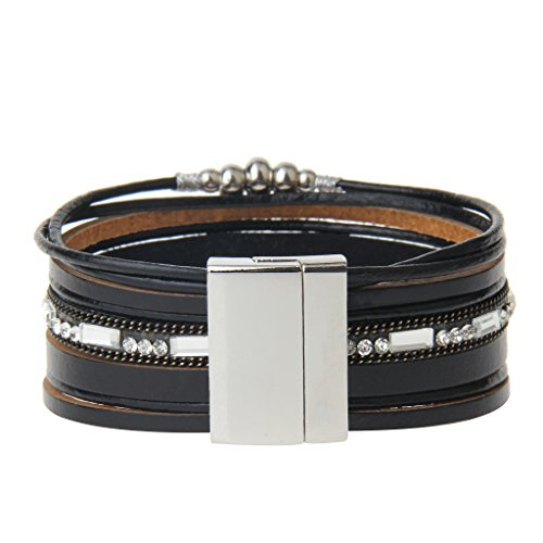 Jenia Black Geniune Leather Cuff Bracelet - Snowflake Alloy Beads and Crystal Bangle Handmade Jewelry for Ladies, Wife Gift - with Magnetic Buckle and Gift Box By by Jenia (Image #1)