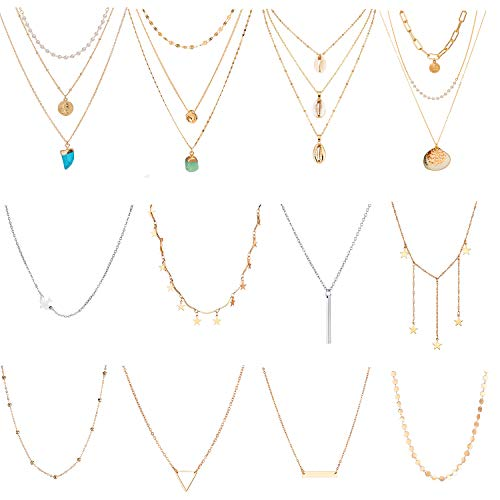 TAMHOO 12 PCS Wholesale Shell Turquoise Pendant Necklace for Women Layered-Choker Set Star Triangle Chokers Necklace for Teens Girls Choker Set -Long Necklaces for Women Fashion Jewelry Bulk