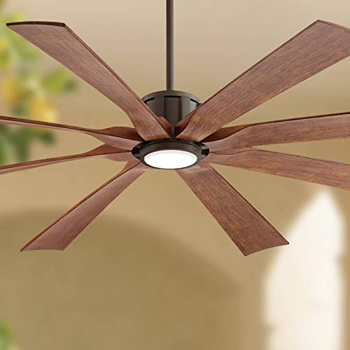 70 The Defender Outdoor Ceiling Fan with Light LED Dimmable Remote Control Oil Rubbed Bronze Koa Blades Damp Rated for Patio Porch – Possini Euro Design