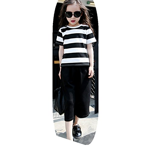 FTSUCQ Girls Striped Shirt and Loose Pants Cropped Trousers Two-piece Sets,130 (Cute 11 Year Old Guys)