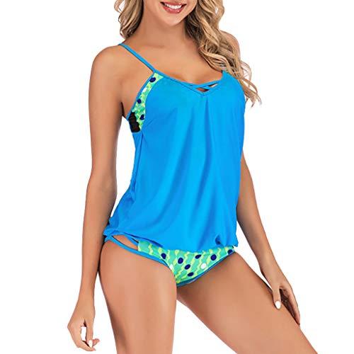 Mysky Fashion Women Summer Sexy Bohemian Print Criss Cross Plus Size One Piece Swimsuit Bikini Sky -