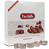 Du Bake Authentic Bite Size Turkish Delight Mini Fruit Flavored Jelly Candy with Pomegranate Pistachio - Dusted with Sugar for Sweet Dessert Treats Packed in a Gourmet Gift Box