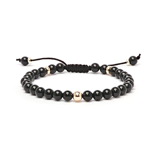Asortis Onyx 14K Gold Bead Shamballa Bracelet (7.0 - Gold Bead Onyx Bracelet