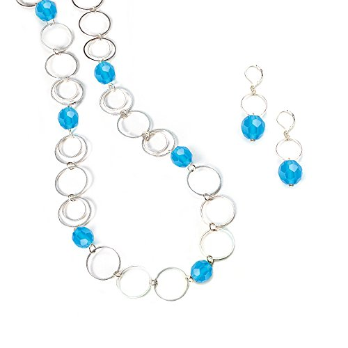 (LookLove Women's Jewelry Blue Faceted Glass Bead Necklace and Earring Set 26