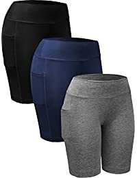 Neleus Women's 3 Pack Compression Athletic Workout Shorts with Pocket