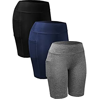 Neleus Women's 3 Pack Tummy Control Workout Compression Shorts with Pocket,9005,Black,Grey,Navy Blue,US XS