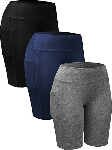 Neleus Women's Athletic Running Compression Shorts with Pocket,9005,3 Pack,Black,Grey,Navy Blue,US L,EU XL ()