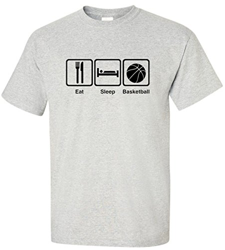 EatSleepTee Men's Eat Sleep Basketball T-Shirt Large Ash - Ash T-shirt Others Grey