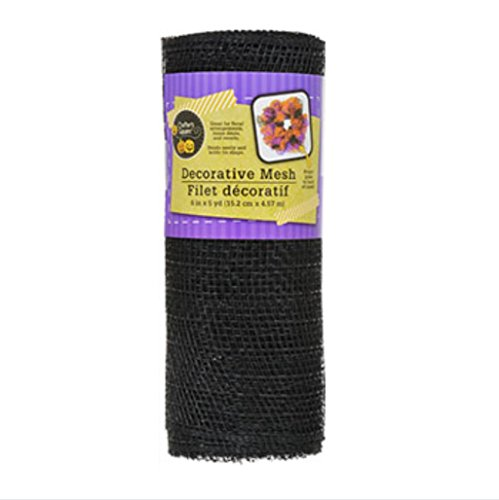 Decorative Halloween Mesh Rolls for Crafting Wreaths, Centerpieces, Displays, Table Drape and More, 5 Yard Rolls, 6 Inches Wide (1 Roll, Black) -