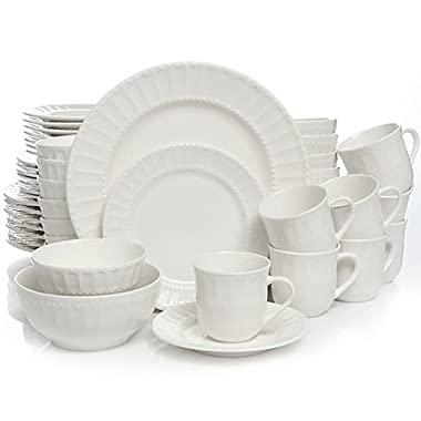 Home Heritage Place Dinnerware Set, White Procelain, 48-Piece