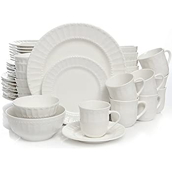 Heritage Place 48-Piece Dinnerware Set comes with scalloped and beaded design on crisp white  sc 1 st  Amazon.com & Amazon.com | Heritage Place 48-Piece Dinnerware Set comes with ...