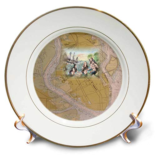 3dRose Lens Art by Florene - Nautical Maps - Image of Charleston South Carolina Vintage Map with Mermaids - 8 inch Porcelain Plate (cp_317559_1)