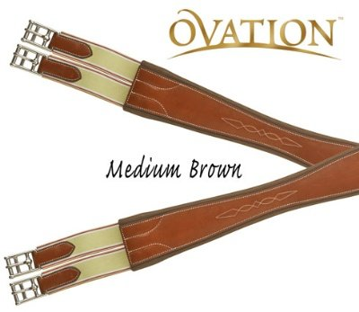 Ovation Pro Fancy Double Elastic Girth 50 Dk Brown