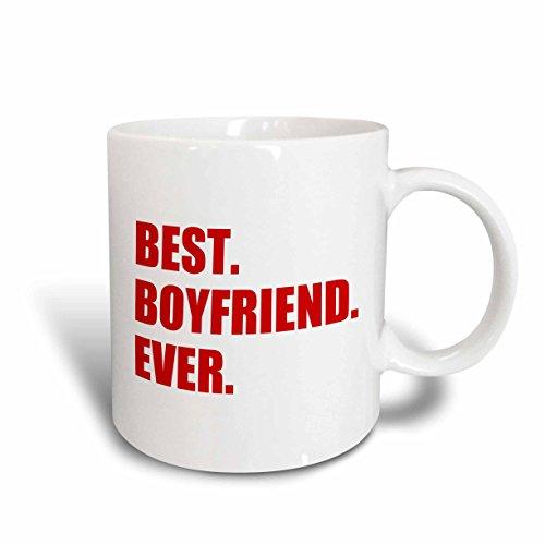 3dRose mug_179712_2 Red Best Boyfriend Ever Text Anniversary Valentines Day Gift for Him Ceramic Mug, 15-Ounce, White