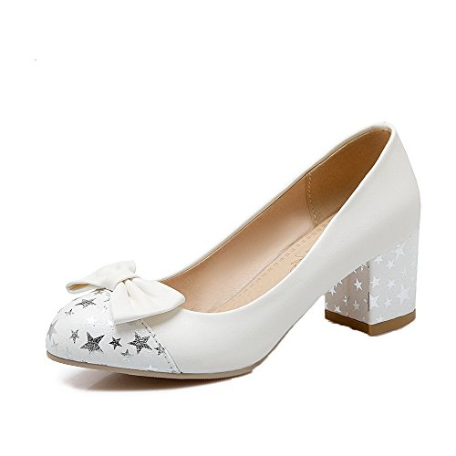 White Pull Kitten PU Shoes Women's On Pumps Heels Solid Round Odomolor Toe PpF5nRq