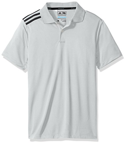 adidas Golf Boys B Climacool 3-Stripes Polo Shirt, Stone/Black, (Climacool 3 Stripes Polo)