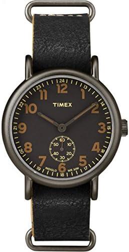 Timex Men s TW2P86700 Weekender 40 Mini-Sweep Titanium-Tone Black Leather Slip-Thru Strap Watch