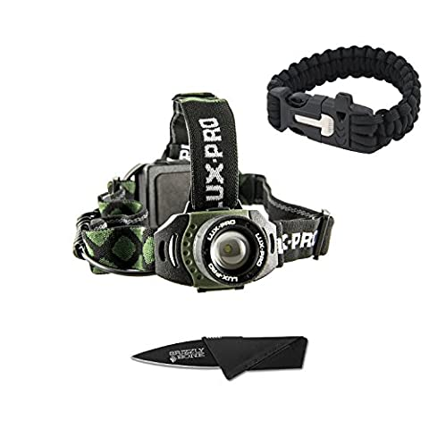NEW Combo Pack Bright LuxPro 355 Focusing Headlamp Tactical Ultimate Flashlight For Zombie Apocalypse Camping Power Outage Survival Kit W/ Free Paracord Bracelet & Credit Card Knife Survival - Focusing Headlamp