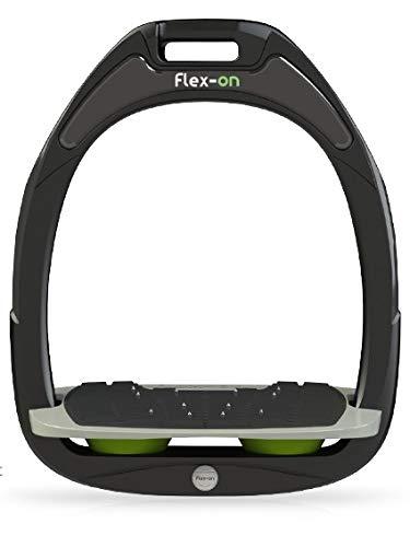 【 限定】フレクソン(Flex-On) 鐙 ガンマセーフオン GAMME SAFE-ON Mixed ultra-grip フレームカラー: ブラック フットベッドカラー: グレー エラストマー: グリーン 98713   B07KMPZZTN