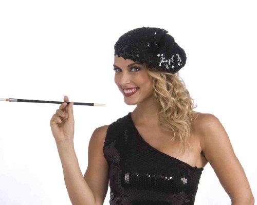 Forum Novelties Roaring 20's Sequin Flapper Beret, Black, One (Sequin Beret)