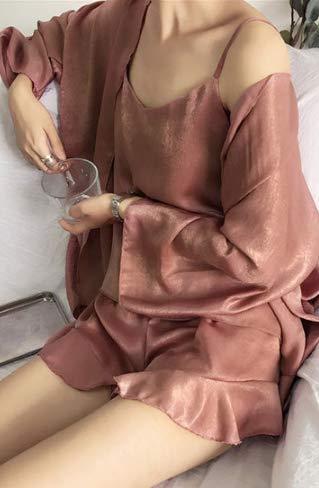 3pcs Con Mujer Camisón Ropa Delgado Conjuntos Manga Pijama Pijamas Ahsxl Xxl Cortos Xl Larga Volantes Dormir Conjunto De qBtxEH