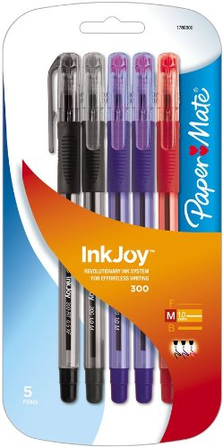 (Paper Mate InkJoy 300 Stick Ballpoint Pens, Medium Point, Assorted Ink Colors, 5-Pack)