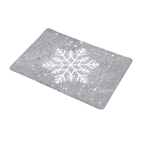 Sothread 40x60cm Soft Non-Slip Carpet Mat Snowflake Christmas Tree Decor Area Rug Doormat (A).