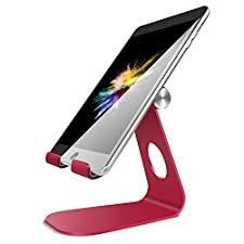 Adjustable iPad Stand, Lamicall Tablet Stand : Desktop Stand Holder Dock for Nintendo Switch, iPad Air 2 3 4 Pro mini, kindle, Nexus, Accessories, Samsung Tab and Other Tablets (4-11 inch) - Red