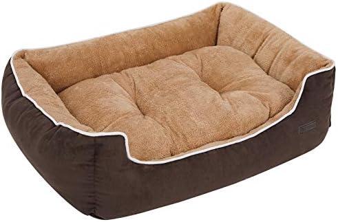 FEANDREA Cama para Perros, Sofá para Perros, Cesta para Perro,con Cojín Extraíble, 80 x 70 x 25 cm, Marrón y Beige PGW06YC: Amazon.es: Productos para mascotas