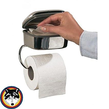 Soporte para papel higiénico Tiger Combi acero inoxidable brillo + Caja para toallitas húmedas
